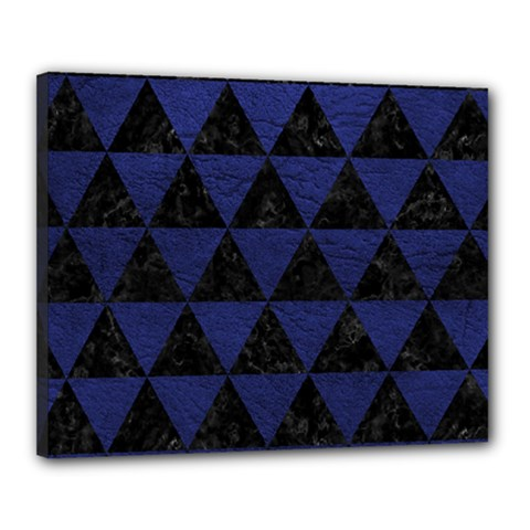 Triangle3 Black Marble & Blue Leather Canvas 20  X 16  (stretched) by trendistuff