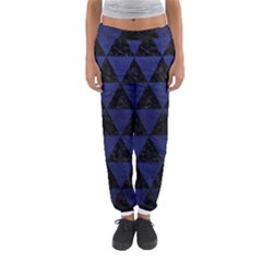 Triangle3 Black Marble & Blue Leather Women s Jogger Sweatpants by trendistuff