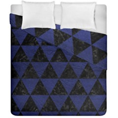 Triangle3 Black Marble & Blue Leather Duvet Cover Double Side (california King Size) by trendistuff