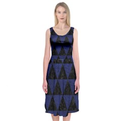 Triangle3 Black Marble & Blue Leather Midi Sleeveless Dress by trendistuff