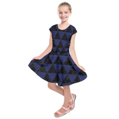 Triangle3 Black Marble & Blue Leather Kids  Short Sleeve Dress by trendistuff