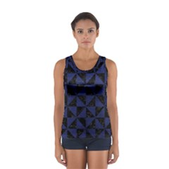 Triangle1 Black Marble & Blue Leather Sport Tank Top  by trendistuff