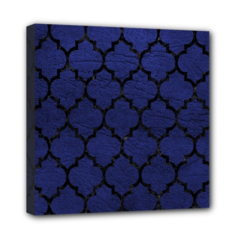 Tile1 Black Marble & Blue Leather (r) Mini Canvas 8  X 8  (stretched) by trendistuff