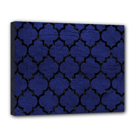 Tile1 Black Marble & Blue Leather (r) Canvas 14  X 11  (stretched)
