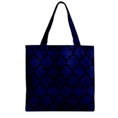 Tile1 Black Marble & Blue Leather (r) Zipper Grocery Tote Bag by trendistuff