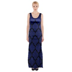 Tile1 Black Marble & Blue Leather (r) Maxi Thigh Split Dress by trendistuff