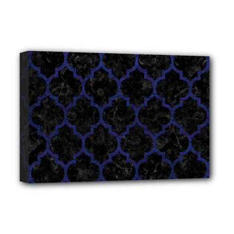 Tile1 Black Marble & Blue Leather Deluxe Canvas 18  X 12  (stretched) by trendistuff