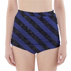 Stripes3 Black Marble & Blue Leather (r) High Waisted Bikini Bottoms by trendistuff
