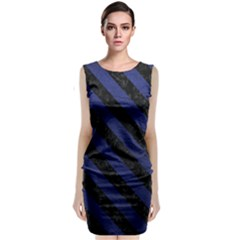 Stripes3 Black Marble & Blue Leather (r) Classic Sleeveless Midi Dress by trendistuff