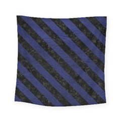 Stripes3 Black Marble & Blue Leather (r) Square Tapestry (small) by trendistuff