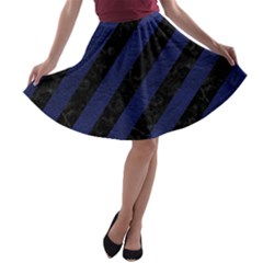 Stripes3 Black Marble & Blue Leather A Line Skater Skirt by trendistuff