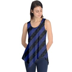 Stripes3 Black Marble & Blue Leather Sleeveless Tunic by trendistuff