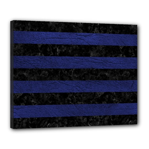 Stripes2 Black Marble & Blue Leather Canvas 20  X 16  (stretched) by trendistuff