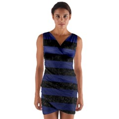 Stripes2 Black Marble & Blue Leather Wrap Front Bodycon Dress by trendistuff