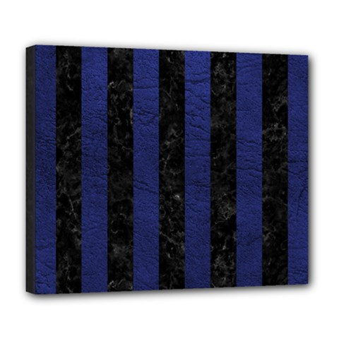 Stripes1 Black Marble & Blue Leather Deluxe Canvas 24  X 20  (stretched) by trendistuff