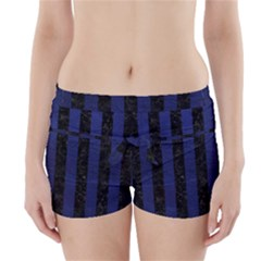 Stripes1 Black Marble & Blue Leather Boyleg Bikini Wrap Bottoms by trendistuff