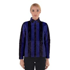 Stripes1 Black Marble & Blue Leather Winter Jacket by trendistuff