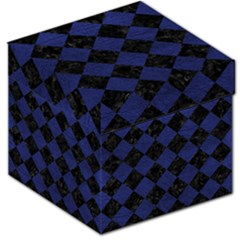 Square2 Black Marble & Blue Leather Storage Stool 12  by trendistuff