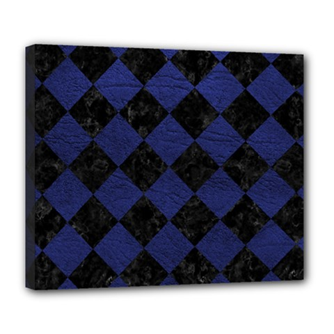 Square2 Black Marble & Blue Leather Deluxe Canvas 24  X 20  (stretched) by trendistuff