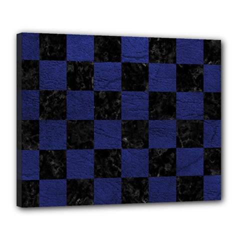 Square1 Black Marble & Blue Leather Canvas 20  X 16  (stretched) by trendistuff