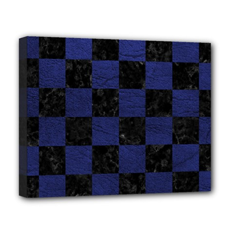 Square1 Black Marble & Blue Leather Deluxe Canvas 20  X 16  (stretched) by trendistuff