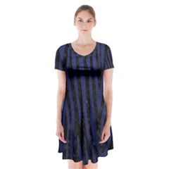 Skin4 Black Marble & Blue Leather (r) Short Sleeve V Neck Flare Dress
