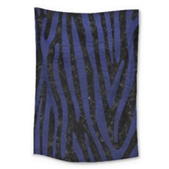 Skin4 Black Marble & Blue Leather (r) Large Tapestry by trendistuff