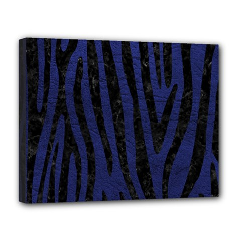 Skin4 Black Marble & Blue Leather Canvas 14  X 11  (stretched)