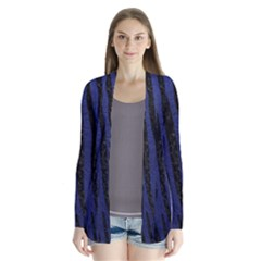 Skin4 Black Marble & Blue Leather Drape Collar Cardigan by trendistuff