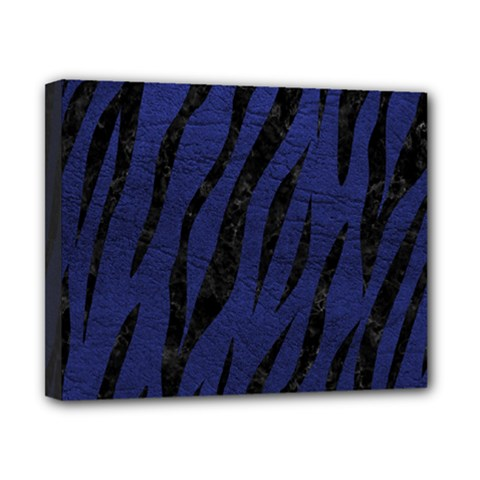 Skin3 Black Marble & Blue Leather (r) Canvas 10  X 8  (stretched) by trendistuff
