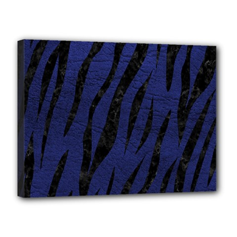 Skin3 Black Marble & Blue Leather (r) Canvas 16  X 12  (stretched) by trendistuff