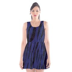 Skin3 Black Marble & Blue Leather (r) Scoop Neck Skater Dress by trendistuff