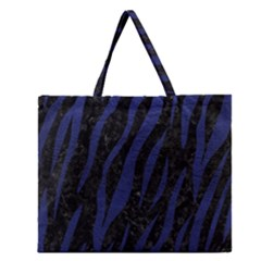 Skin3 Black Marble & Blue Leather Zipper Large Tote Bag by trendistuff