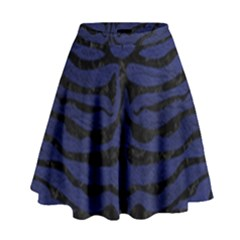 Skin2 Black Marble & Blue Leather (r) High Waist Skirt by trendistuff