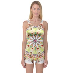 Intricate Flower Star One Piece Boyleg Swimsuit