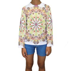 Intricate Flower Star Kids  Long Sleeve Swimwear by Alisyart