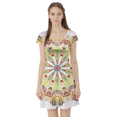 Intricate Flower Star Short Sleeve Skater Dress