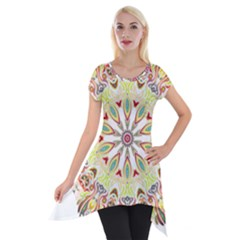 Intricate Flower Star Short Sleeve Side Drop Tunic by Alisyart