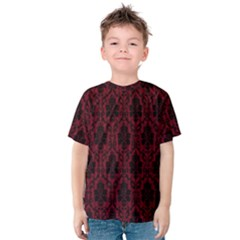 Elegant Black And Red Damask Antique Vintage Victorian Lace Style Kids  Cotton Tee by yoursparklingshop