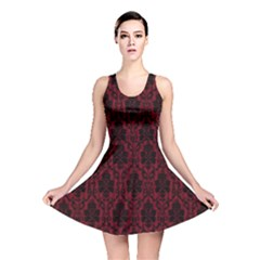 Elegant Black And Red Damask Antique Vintage Victorian Lace Style Reversible Skater Dress