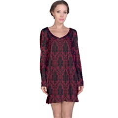 Elegant Black And Red Damask Antique Vintage Victorian Lace Style Long Sleeve Nightdress