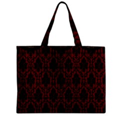 Elegant Black And Red Damask Antique Vintage Victorian Lace Style Zipper Mini Tote Bag