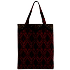 Elegant Black And Red Damask Antique Vintage Victorian Lace Style Zipper Classic Tote Bag