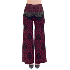 Elegant Black And Red Damask Antique Vintage Victorian Lace Style Pants