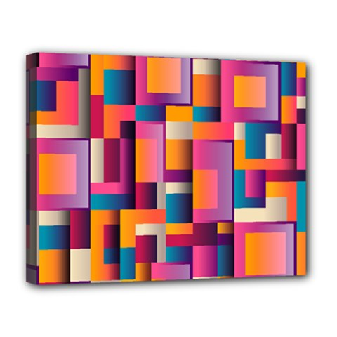 Abstract Background Geometry Blocks Canvas 14  X 11  by Simbadda