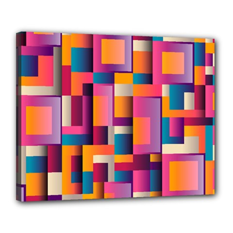 Abstract Background Geometry Blocks Canvas 20  X 16  by Simbadda