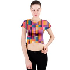 Abstract Background Geometry Blocks Crew Neck Crop Top by Simbadda