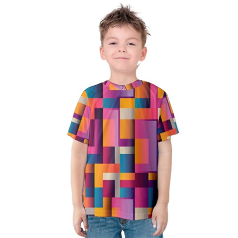 Abstract Background Geometry Blocks Kids  Cotton Tee by Simbadda