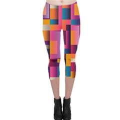 Abstract Background Geometry Blocks Capri Leggings  by Simbadda