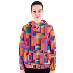 Abstract Background Geometry Blocks Women s Zipper Hoodie by Simbadda
